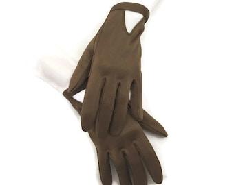 60s Brown Gloves, Nylon  Gloves,  Brown Shorties, 1960s Short Gloves, Ladies  Gloves, Driving Gloves,