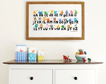 Animal alphabet print || ABC print for kids bedroom || modern nursery decor || alphabet print