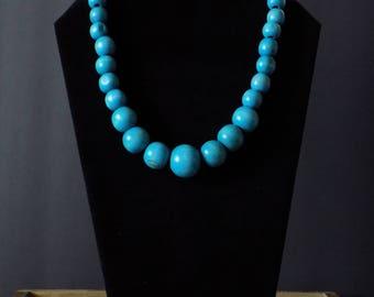 Turquoise short beaded necklace set
