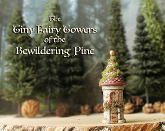 The Woodland Fairy Tower of The Bewildering Pine - Miniature Enchanted Stone Tower w/ Window Box, Mossy Tiled Roof, Wooden Door and Finial