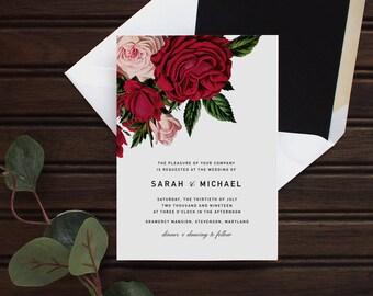 Red Rose Floral Wedding Invitation