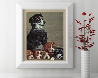 Kitchen Art Print, Child's Room Art, Family Room Art, Nursery Art Print, Mom Dog and Puppies Art  #118  FREE SHIPPING