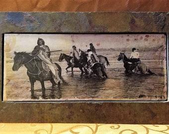 "Vintage Native American ""Crossing River"" Silk Screen Sierra Slate Rock Framed Art Decor"