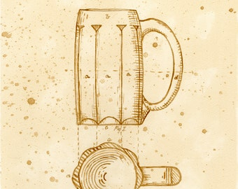 beer art, King's Beer Mug Patent, painted using beer, technical, patent drawing, scientific, historical, stein
