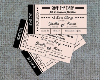 Hollywood Ticket Invitation, Save the Date, Ticket Invite