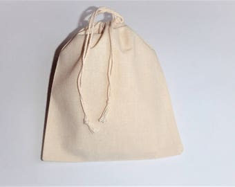 "Muslin package * Plain Cotton Bags * Drawstring Cottone Pouches * Set of 5 Bags * Natural Cotton Pouches * 5"" x 6"" ( 13cm x 15cm )"