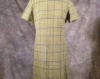 Vintage Handmade 1960s Brown and Caramel Gingham Shift Dress