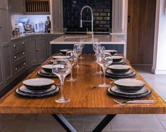 English Oak Live Edge Dining Table