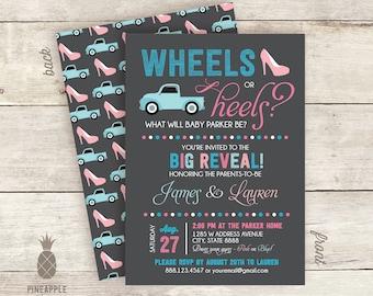 Wheels Or Heels? Baby Gender Reveal Invitations - Colors Used: Charcoal, Cyan, Pink, Baby Blue, & Baby Pink