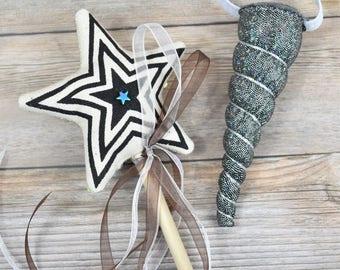 Silver Unicorn Headband and Magic Wand Gift Set