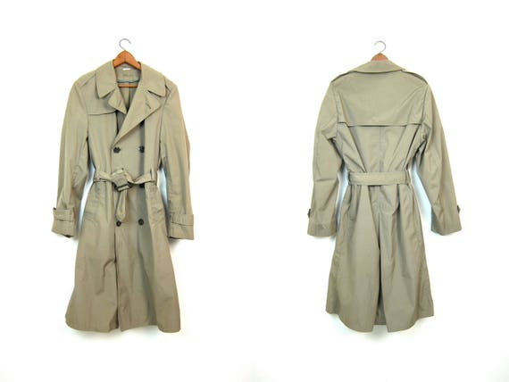 Long Green Army Trench Coat Military Issue Overcoat Commando Double Breast Grunge Vintage 70s Mens Belted Trench Jacket Parka Medium 34L