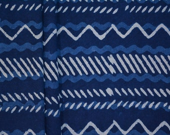 Natural Dye Indigo Zig Zag Block Print Cotton Fabric