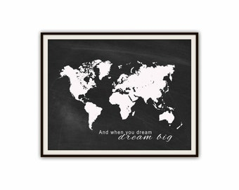Navy nursery print printable world map print travel quote printable world map poster travel quote print instant download nursery decor chalkboard gumiabroncs Image collections