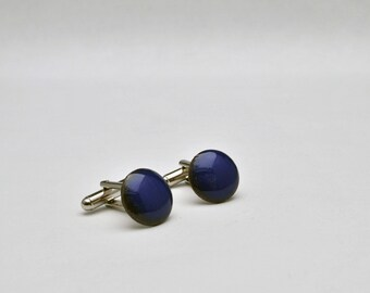 Bright lapis blue enamel cufflinks