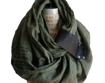 army linen unisex scarf , leather poetry scarves, shawl , wrap, autumn accessories