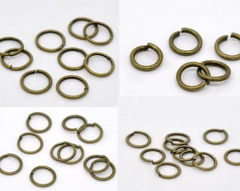 50/150/200 - 4/6/7/8/9 mm Bronze Plated Jump Rings