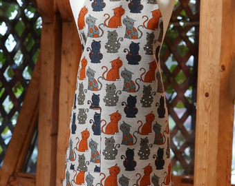 Linen Cotton Apron Funny Cats, Funny Kitchen Apron, Linen Apron For Women, Cute Apron, Cooking Apron