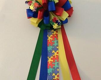 Autism Awareness Ribbon Corsage