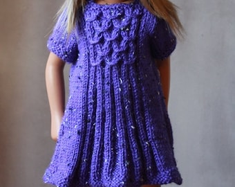 Hand Knitted Mock Cable Dress for Vintage Sasha Doll