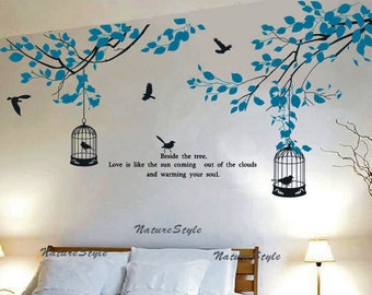 branches wall decal vinyl wall sticker baby decal nursery decor children room decal - Branch with Flying Birds and birdscage