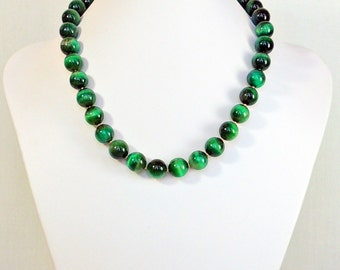 Green tiger's eye and gold-fill necklace