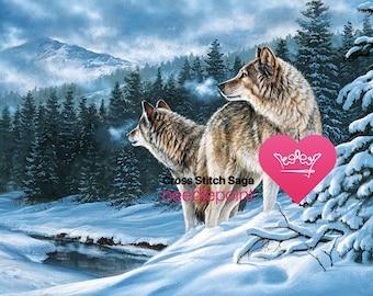 Wolf counted cross stitch pattern - Winter large cross stitch chart - Cross stitch animal - Wildlife cross stitch design - Printable PDF