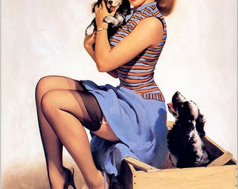 Pin Up Girl Art Print Reproduction, puppy_love_1957 by Gil Elvgren