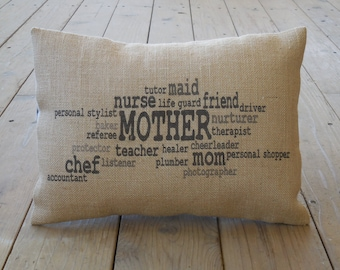 Mother Wordle Burlap Pillow, Mother's Day Gift,  Mom Birthday Gift, Farmhouse Pillows, Saying 11, INSERT INCLUDED