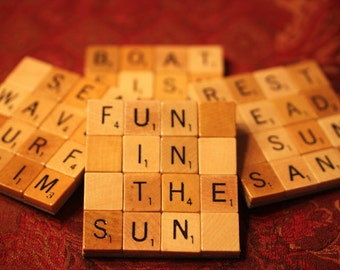 Scrabble Coasters with Recycled Wood Scrabble Tiles And Sturdy Game Board Backing BEACH BUM