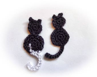 2 black cats handmade crochet