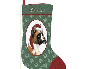 Boxer Dog Personalized Christmas Stocking