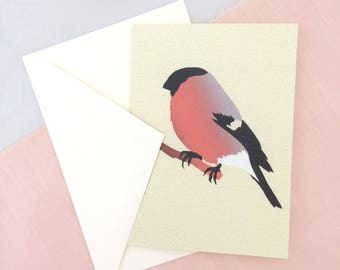 Bull Finch Card | Bird Card | Bird Greetings Card | Bird Birthday Card | Anniversary Card | Bird Art | Bird Print | Bird Art | Bull Finch