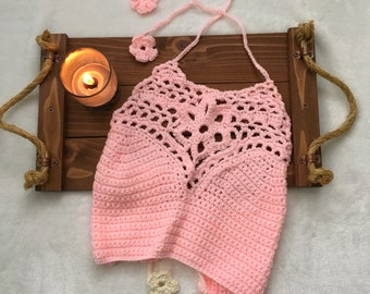 Light Pink Crochet Crop Top, Crochet Boho Top, Beachwear, Festival Top