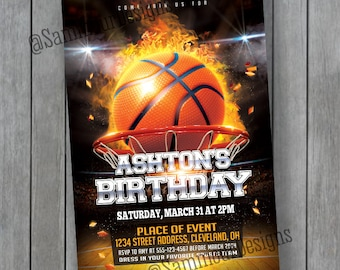 Basketball Invitation - Basketball Flyer - Basketball Birthday Invitation - Basketball Birthday