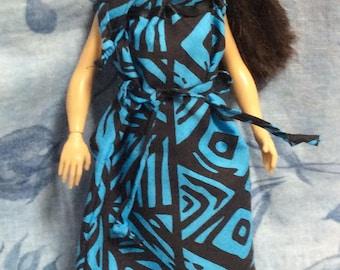 Blue/black Hawaiian print Lammily doll muumuu dress.