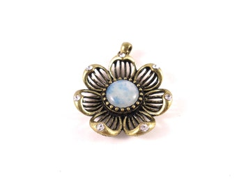 Brass Flower Pendant - Blue Flower Pendant - Brass Flower Charm - Blue Flower Charm - Gold Flower Charm - Gold Flower Pendant Antiqued Brass