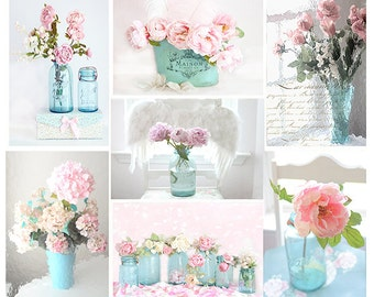 Shabby Chic Floral Print Set Dreamy Pink Aqua Teal Roses Hydrangeas Peonies Romantic