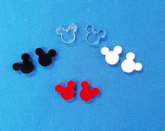 """24 Units (12 Pair) Acrylic EARRINGS blanks ( 5/8"""" or 1"""" Dim) MICKEY MOUSE  shape jewerly (select Colors & optional hole) (hardware seperate)"""