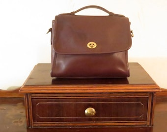 Etsy BDay Sale Coach Court Bag In Mahogany (Brown)  Leather With Brass Hardware - Strap Missing