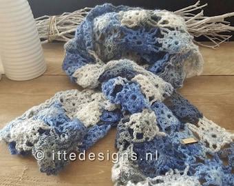 Fine crochet scarf ca. 40 x 150 cm blue/grey-By Itte-