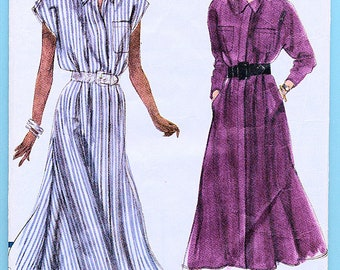 Vintage Very Easy Very Vogue Ladies Dress Pattern 7810 above ankle collared loose fitting tucked bodice flared skirt hidden front opening