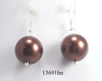 Brown Glass Pearl Earrings