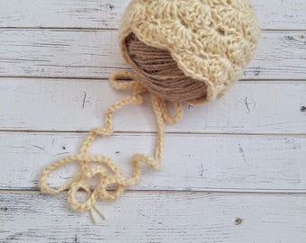 Newborn Baby Bonnet, Baby Girl Bonnet, Photo Prop Bonnet, Soft Bonnet, Crochet Baby Girl Bonnet, Baby Girl, Lacy Bonnet, READY 2 SHIP