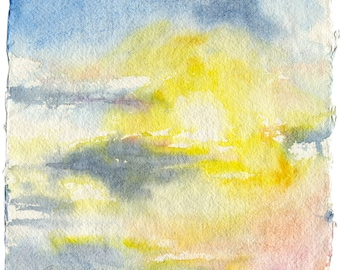 Sunset painting watercolor - blue sky painting. Sunset print. Watercolor art print