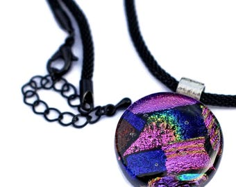 Dichroic Small Round Necklace,Fused Glass Pendant, Fused Glass Jewelry, Pink and Blue Pendant, Glass Pendant, Dichroic Pendant, Necklace