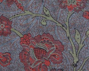 Slate Boston Vine Jacquard Woven Floral Upholstery Fabric
