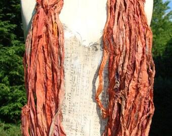 Beautiful Reddish Brown Sari Ribbon 100 Gram Skein