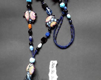 Bohemian necklace / fiber jewelry