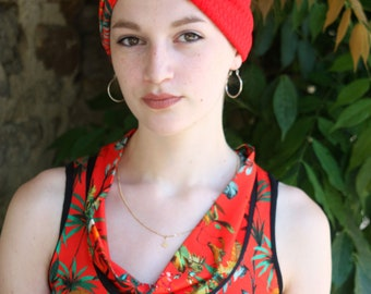 Headband headband - Turban Toucan and Tropical Orange two-tone red Jersey cotton. Retro Turban hair