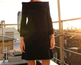 Off the Shoulders Black Jersey Minimalist Dress/ Black Mini dress/Casual  Designer Women's Tunic